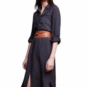 Maeve Button Down Shirt Dress in Charcoal